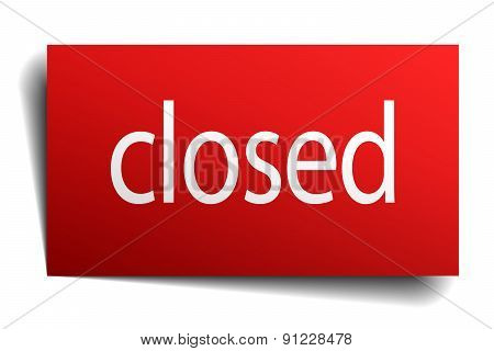 Closed Red Paper Sign Isolated On White