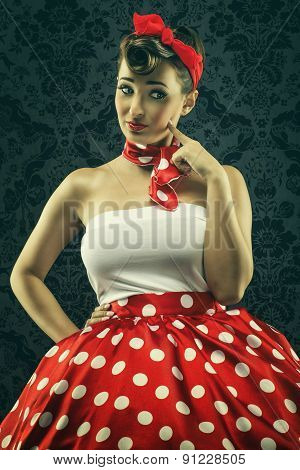 Vintage style - Woman looks interesting in polka dots clothes