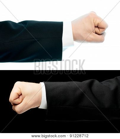 Caucasian hand in a business suit isolated