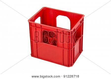 Red crate for wine bottles isolated on white background.