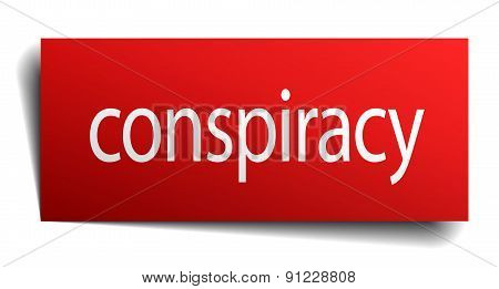Conspiracy Red Paper Sign Isolated On White