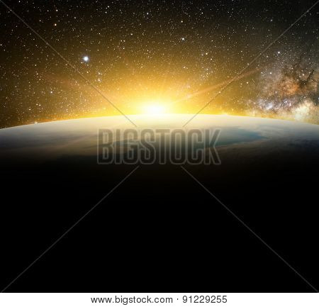 Earth And Sunlight In Galaxy Space Element Finished By Nasa