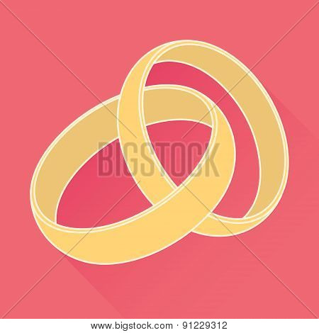 Vector wedding rings icon. Flat design