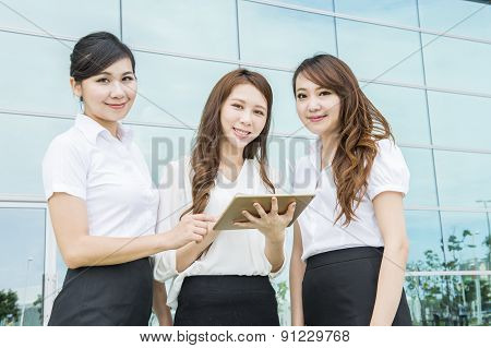 Business women team at office building