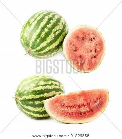 Whole watermelon next to a slice