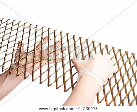 Hands holding a lattice fragement