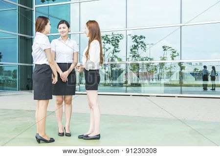 business woman team at office building