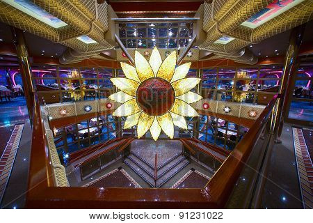 Cruise ship's main dining room entrance