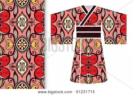 Decorative stylized Japanese kimono ethnic clothes with seamless floral pattern