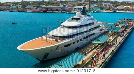 Luxury yacht was docked in the cruise terminal. Nassau.