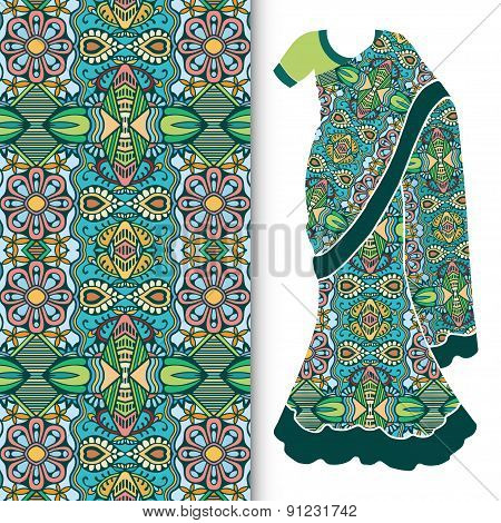 Decorative stylized Indian sari women's ethnic dress with seamless ornamental pattern