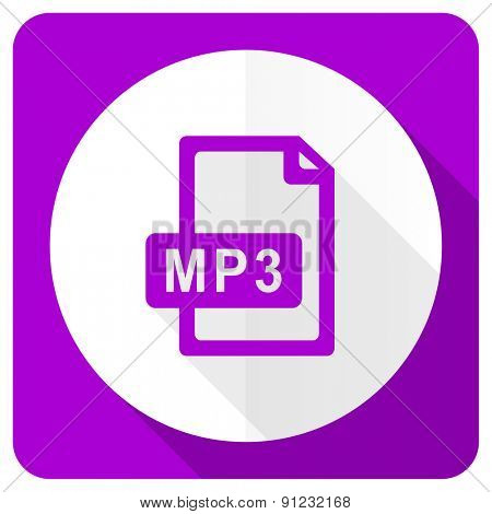 mp3 file pink flat icon
