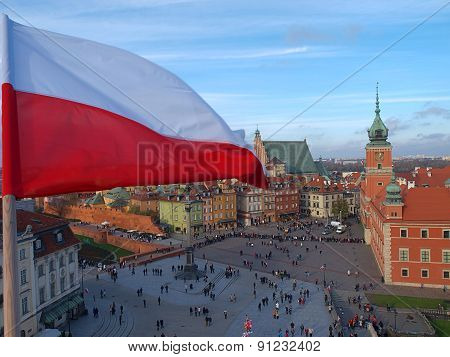 Polish flag over the old town.