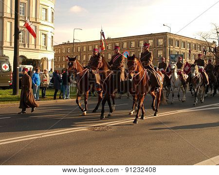 Poland cavalry on the way to the parade.