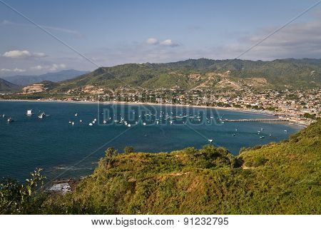 Beautiful high angle view of Puerto Lopez, popular vacation spot in the Ecuadorian coast