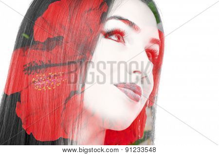Double exposure photo of a young woman and red flower