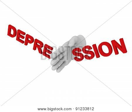 3D White Human Hand Smashes The Word Depression 3D. White Background.