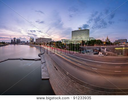 Russian White House And Krasnopresnenskaya Embankment In The Evening, Moscow, Russia