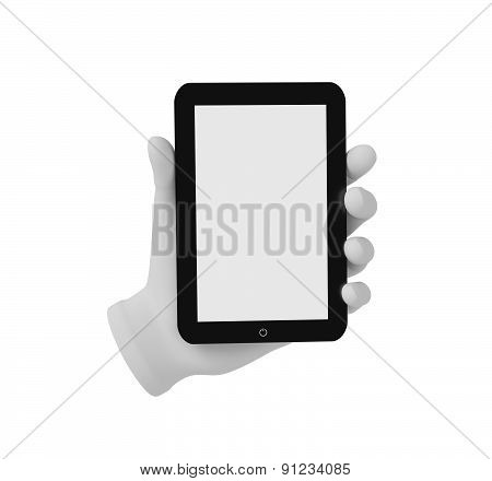 3D White Human Hand Holding A Tablet Pc. White Background.