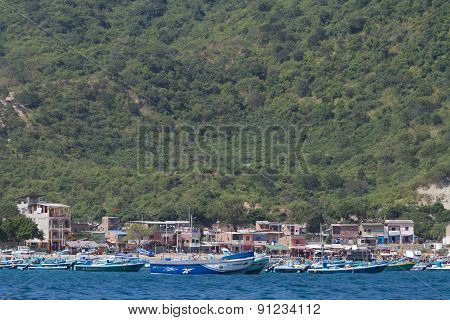 Beautiful coastal beach view of a typical morning in Ecuadorian fishing town