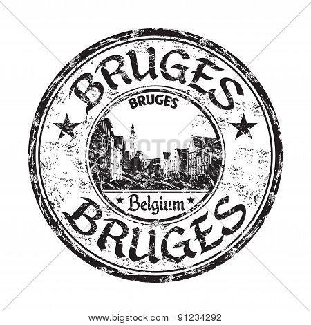 Bruges grunge rubber stamp