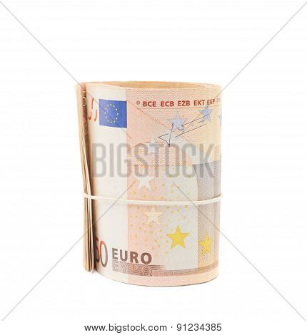 Stack of fifty euro bank notes