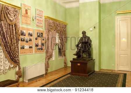 Statue And Old Posters In Lobby Of Moscow Conservatory