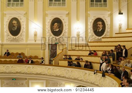 People At Big Concert Hall Of Moscow Conservatory