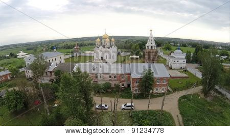 Aerial view of the old church at summer sunny day.