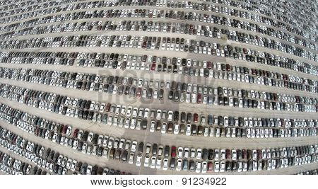 Aerial view of the lot of cars near the Avtoframos company.