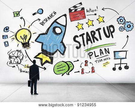 Start Up Business Launch Success Businessman Aspiration Concept
