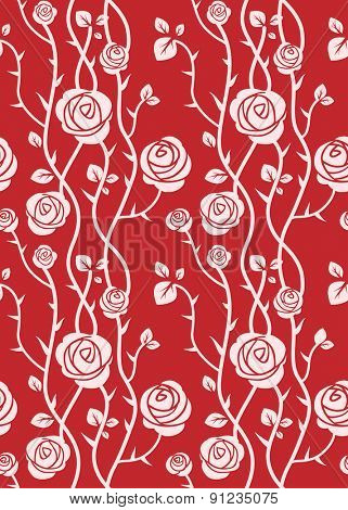 Red floral pattern. Seamless roses background.