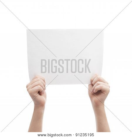 Two hands holding A4 sheet of paper