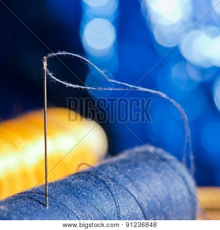 Needle And Blue And Yellow Thread, Shallow Depth Of Field