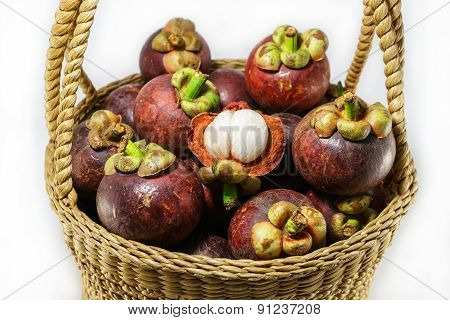 Fresh Mangosteen In Handicraft Basket, Thai Fruit