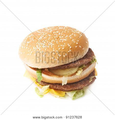 Double burger with lettuce isolated