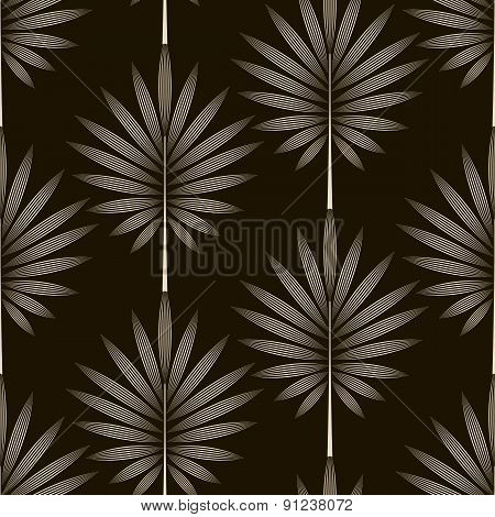 Seamless Monochrome Pattern Graphic Ornament. Floral Background Repeating Texture With Stylized Leav