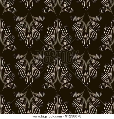Seamless Monochrome Pattern Graphic Ornament. Floral Stylish Background Repeating Texture With Leave