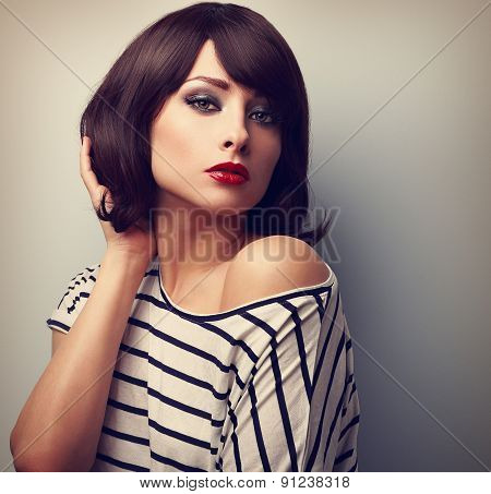 Beautiful Female Model With Short Hair Style In Casual Dress. Vintage