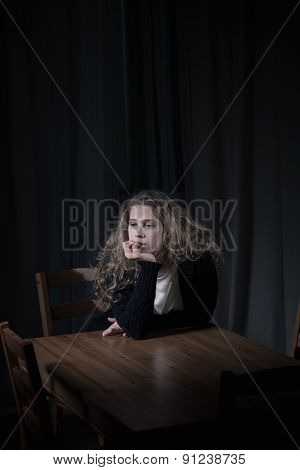 Lonely Woman Biting Her Nails
