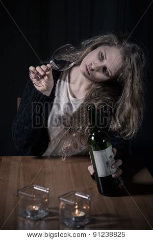 Woman With Problems Drinking Wine