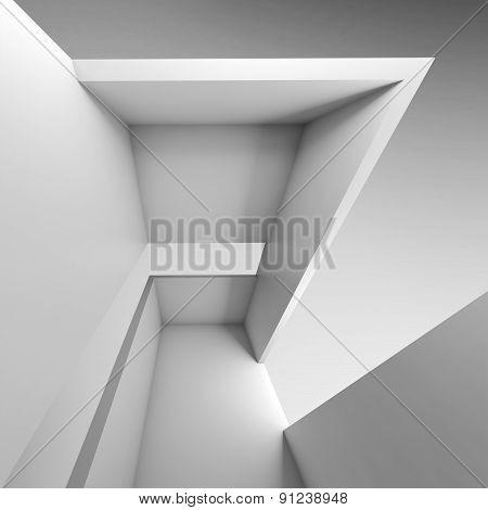 Empty White Futuristic Interior, 3D Illustration
