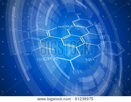 Blue radial technology background and chemical formulas