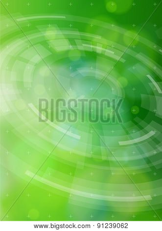 Ecology technology concept. radial HUD elements and green bokeh abstract light background. vector illustration. eps10