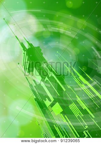 Ecology technology concept. futuristic metropolis, radial HUD elements and green bokeh abstract light background. vector illustration. eps10