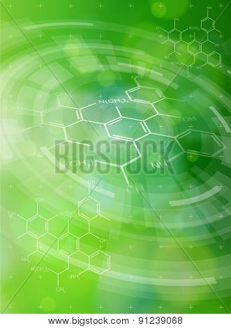 Ecology technology concept. chemical formulas, radial HUD elements and green bokeh abstract light background. vector illustration. eps10