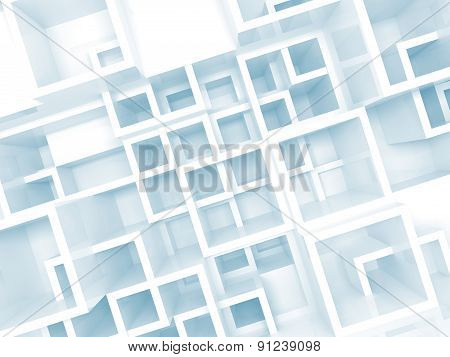 Abstract 3D Background With Chaotic Square Cells