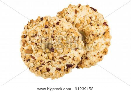 Two Shortbreads Rings With Peanuts Isolated On White Background