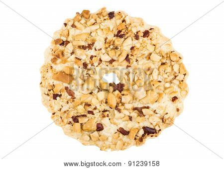 One Shortbread Ring With Peanuts Isolated On White Background