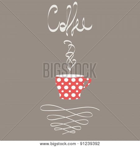 Cup Of Hot Coffee In Retro Style